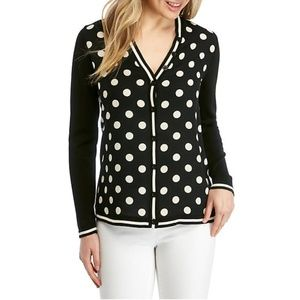 (NWT) Anne Klein | Polka Dot Mixed Media Cardigan